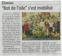 27/11/2011 : thé dansant au profit du téléthon organisé par la troupe Bat de l'aile (article du populaire)